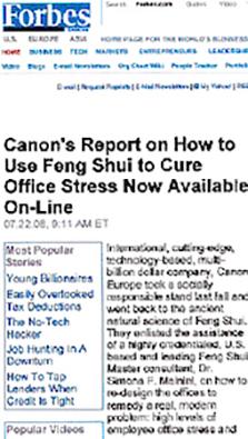 Feng Shui Master Simona Mainini: Canon report on office stress